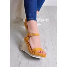 Sandały Zamszowe Żółte Na Koturnie 9697
