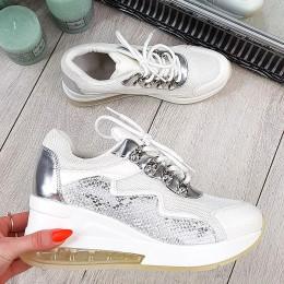 Trampki Białe Sneakersy Na Systemach 9720