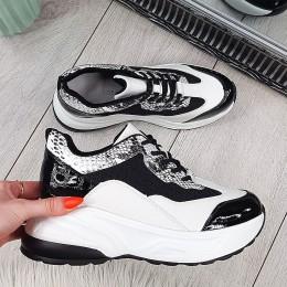Trampki Czarno Białe Adidasy - Patchwork 9714