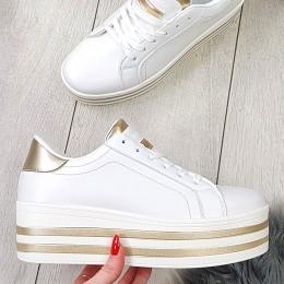 Trampki Biało Złote Eko-skóra Creeapersy 8846