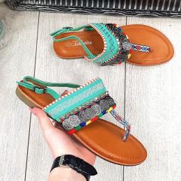 Sandały Talarki Zielone - Kolorowe Japonki 9648