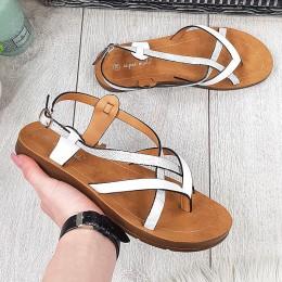 Sandały Delikatne Białe Paseczki 9689