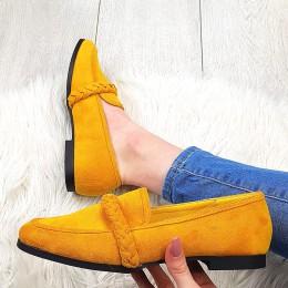 Balerinki Żółte Zamszowe Mokasynki 9563
