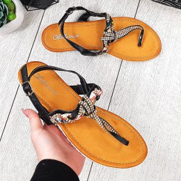 Sandały Czarne Japonki z Złote i Cyrkoniowe Zdobienie 9307