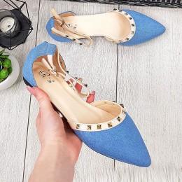 Sandały Niebieskie Jeansowe Czubaszki w Ćwieki 9662