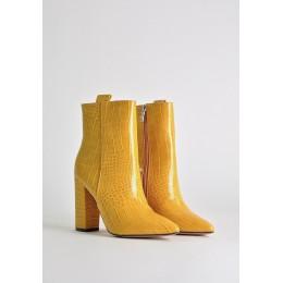 Botki Subtelne Żółte Skóre Aligatora 9736