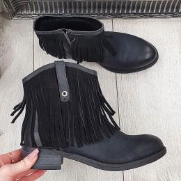 Czarne Krótkie Botki z Frędzlami 9745