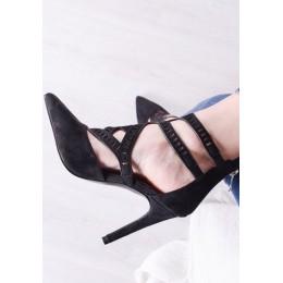 Sandały Czarne Ażurowe Na Szpilce 9791