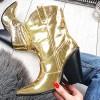 Kozaki Metaliczne Złote Wciągane Kowbojki  9818