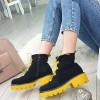 Botki Czarne Zamszowe w Żółte Dodatki 9891