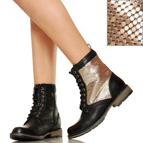 Worker Boots - Czarne ze Złotą Siatką
