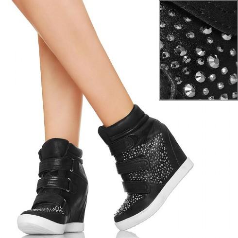 nie - Czarne Sneakers'y Koturny 3 Rzepy