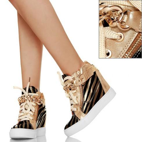 NIE - Efektowne Sneakers'y - Koturny Zebra GOLD