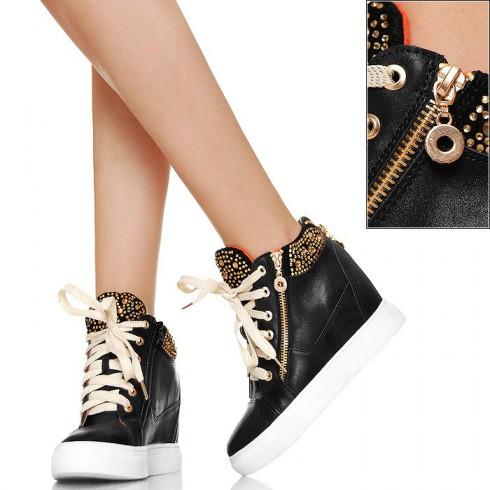 nie - Efektowne Sneakers'y Koturny Cyrkonie BLACK