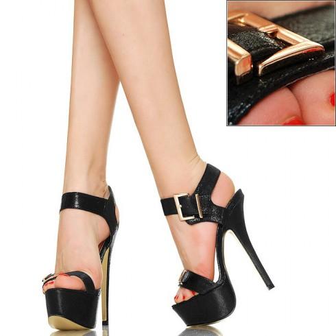 nie  - Połyskujące Sandały - Złote Klamry