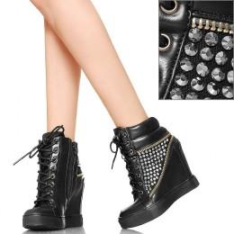 EXKLUSIV Hot Glamour Czarne Sneakersy Zamki