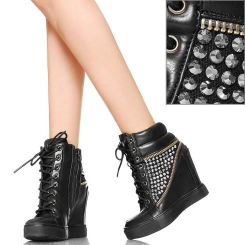 nie - EXKLUSIV Hot Glamour Czarne Sneakersy Zamki