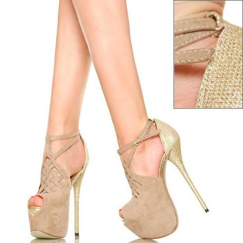 NIE - Jaśniutkie Beżowe Sandały - Złoty Obcas