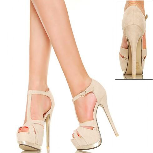 NIE - Beż i Złoto - Seksowne Sandały