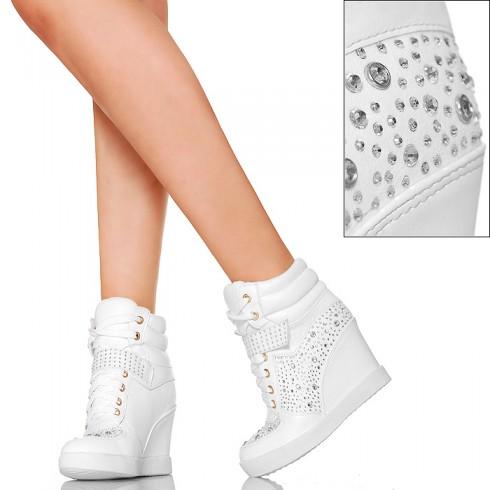 NIE - Śnieżnobiałe Sneakers'y - Srebrne Cyrkonie