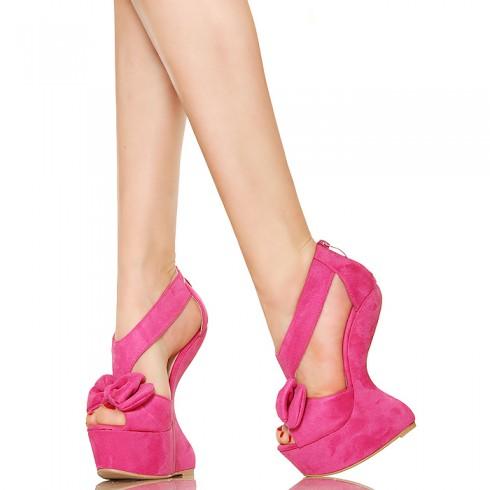 NIE - Różowa Kokardka Innowacyjne Koturny Sandały