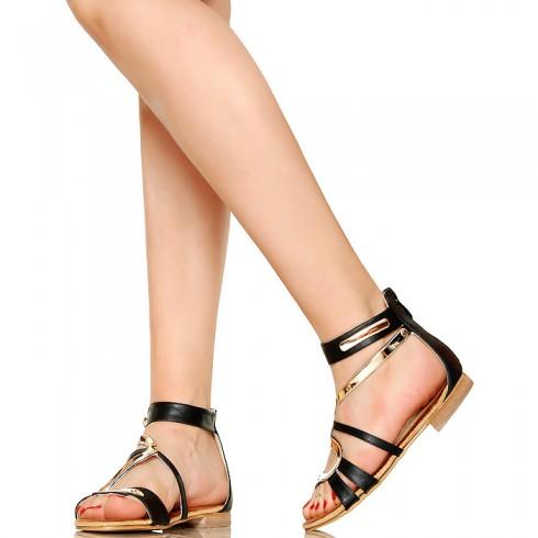 NIE - Złoty Wężyk - Zgrabne Czarne Sandały