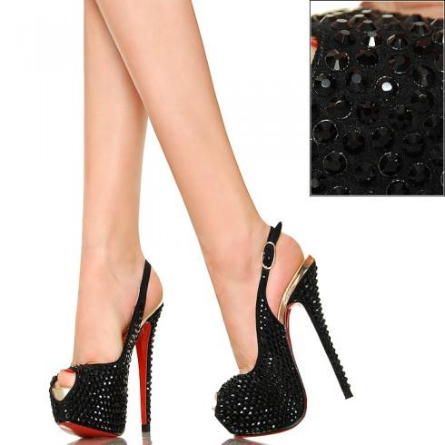 NIE - Czarne Sandały Wysadzane Cyrkoniami Exklusiv