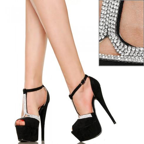 nie - Kobiece Eleganckie Sandały z Cyrkoniami