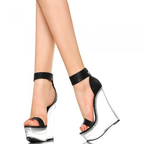 nie - Przezroczyste Koturny - Czarne Sexy Sandały
