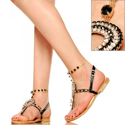 NIE - Czarne Biżuteryjne Kobiece Sandały - Japonki