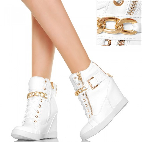 NIE - Sneakersy w Kolorze Białym - Złoty Łańcuch
