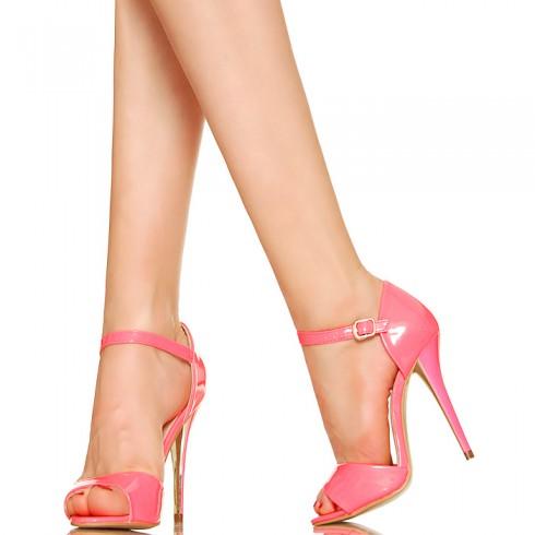 nie-Sandały Neonowy Subtelny Róż 2960