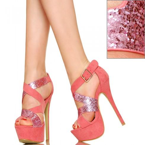 nie - Różowe Sandały - Brokatowe Paski