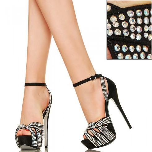 nie - Czarne Efektowne Sandały Opalizujące Cyrkonie