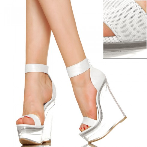 nie - Przezroczyste Koturny - Białe Sexy Sandały