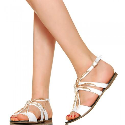 nie - Białe Sandały Złoty Pająk Cyrkonie 3016
