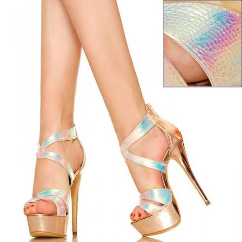 nie - Złote Opalizujące Na Różowo Efektowne Sandały