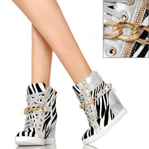 nie - Sneakersy w Zebrę - Złoty Łańcuch