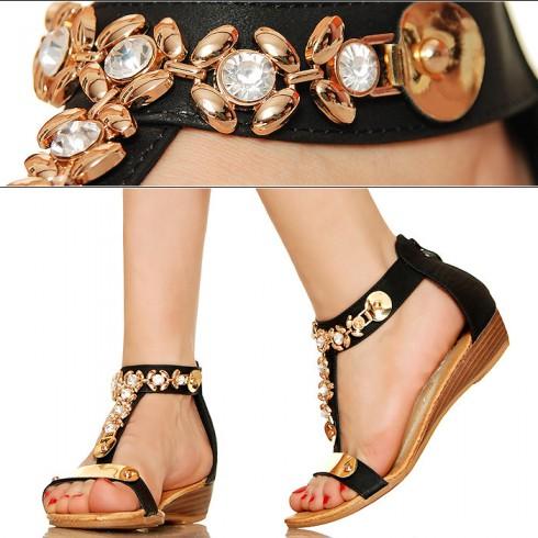 nie - Czarne Kobiece Sandały - Złote Kwiatki
