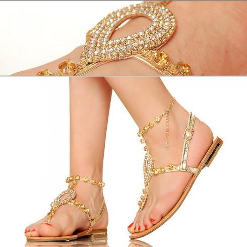 nie - Złote Biżuteryjne Kobiece Sandały - Japonki