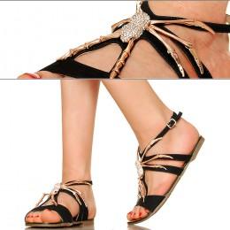Czarne Sandały - Złoty Pająk - Cyrkonie