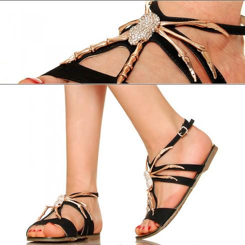 nie - Czarne Sandały - Złoty Pająk - Cyrkonie