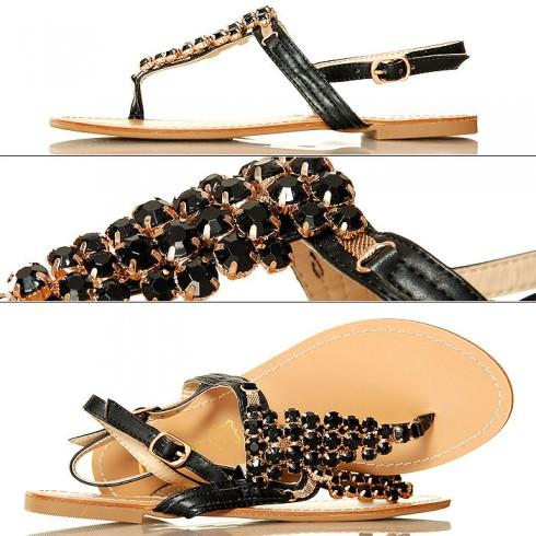 NIE-Czarne Seksowne Sandały Duże Cyrkonie 3094