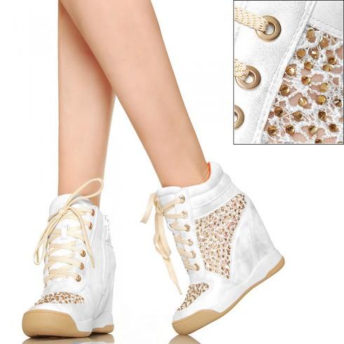 NIE - Biało Srebrne Sneakersy z Koronką