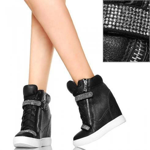 nie-Czarne Seksowne Sneakersy - Srebrne Cyrkonie
