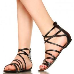 Czarne Kobiece Krótkie Rzymianki Sandały