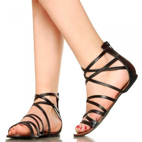 NIE-Czarne Kobiece Krótkie Rzymianki Sandały 3128