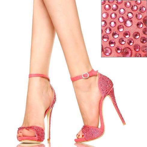 NIE - Różowe Cyrkoniowe Sandały - Delikatne