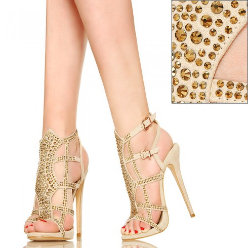 nie - Zmysłowe Bogato Zdobione Beżowe Sandały