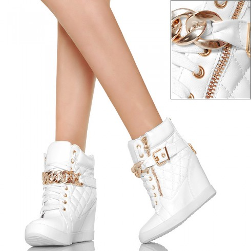nie - Białe Pikowane Sneakersy - Złoty Łańcuch